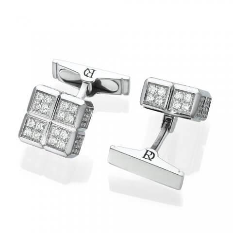 Balto aukso sąsagos su deimantais