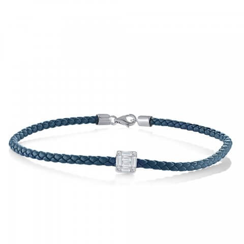Mėlyna odinė apyrankė su deimantais