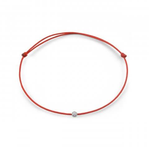 Raudona juostelė-apyrankė su deimantais (baltas auksas)