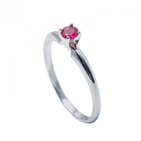 Balto aukso žiedas su rubinu