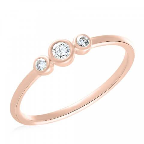Rožinio aukso žiedas su rožiniais deimantais