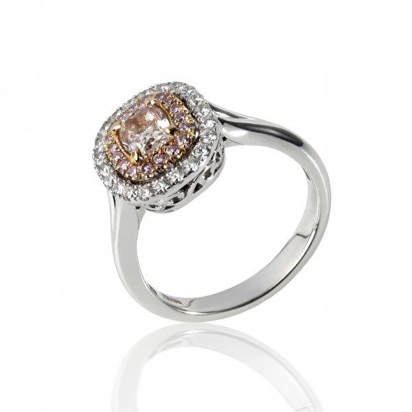 Balto aukso žiedas su rožiniu deimantu ir deimantais