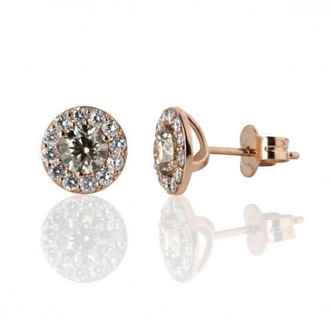 Rožinio aukso auskarai su šampaniniais ir baltais deimantais