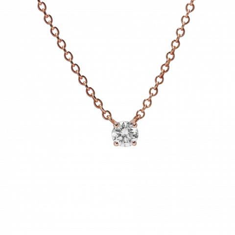 Rožinio aukso pakabukas su deimantu