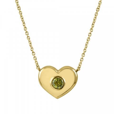 """Geltono aukso pakabukas """"Širdelė"""" su deimantu"""