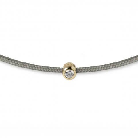 Chaki spalvos juostelė-apyrankė su deimantu (geltonas auksas)