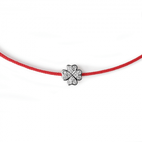 """Raudona juostelė-apyrankė su deimantu """"Dobilas"""" (baltas auksas)"""