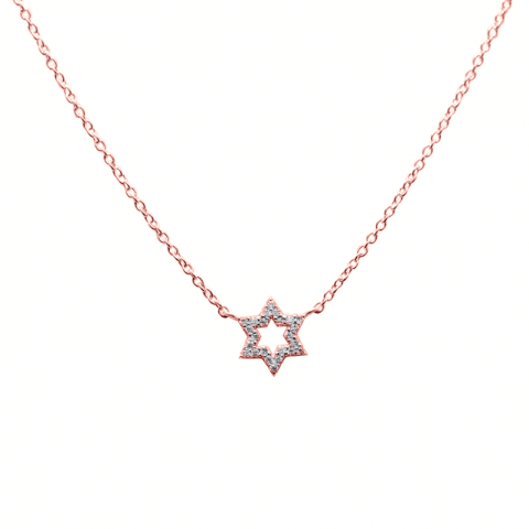 """Rožinio aukso pakabukas """"Šešiakampė žvaigždė"""" su deimantais"""