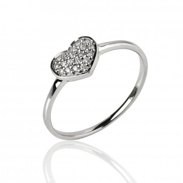 """Balto aukso žiedas """"Širdelė"""" su deimantais"""