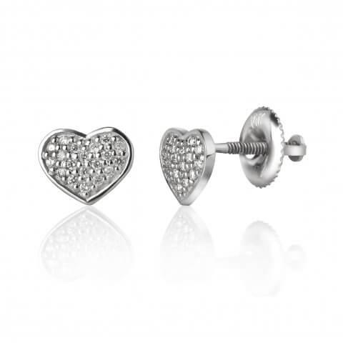 "Balto aukso auskarai ""Širdelės"" su deimantais"