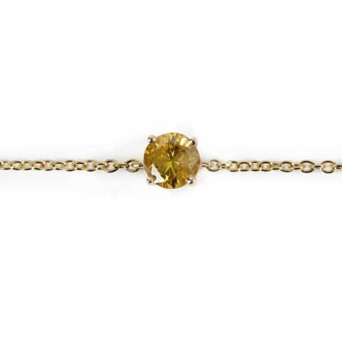 Geltono aukso apyrankė su deimantu