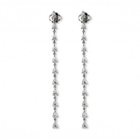 Long white gold diamond earrings