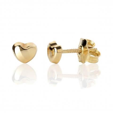 """Geltono aukso auskarai """"Širdelės"""""""