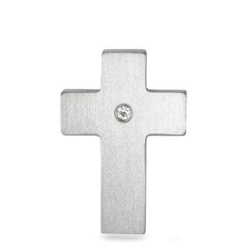 Nerūdijančio plieno pakabukas Kryžiukas su deimantu