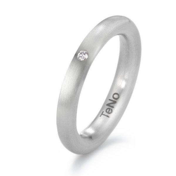 Nerūdijančio plieno žiedas su deimantu (3.5 mm pločio)