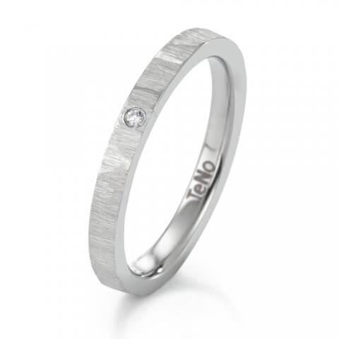 Matinis, faktūruotas nerūdijančio plieno žiedas su deimantu (2.5 mm pločio)