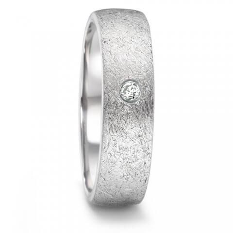 Matinis, faktūruotas nerūdijančio plieno žiedas su deimantu (6 mm pločio)
