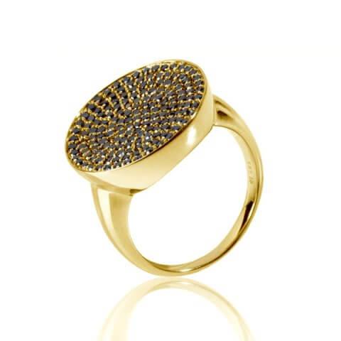 Geltono aukso žiedas su juodaisiais deimantais
