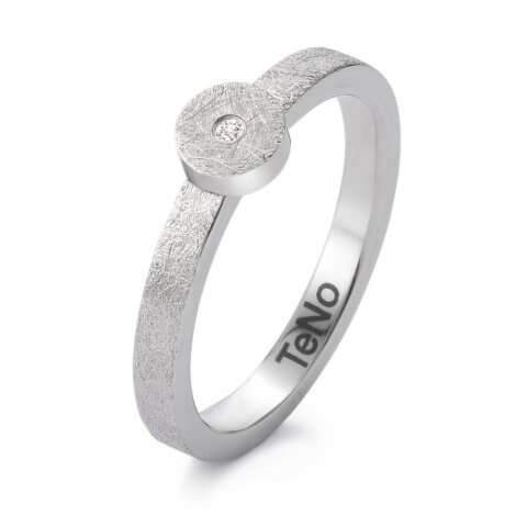 Matinis, faktūrinis nerūdijančio plieno žiedas su deimantu (2.5 mm pločio)