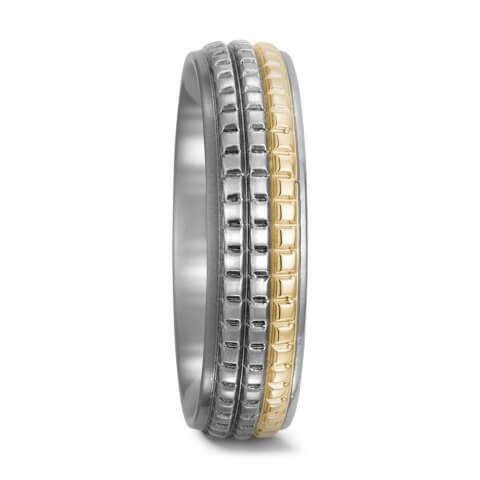 Aukso ir nerūdijančio plieno žiedas (6 mm pločio)