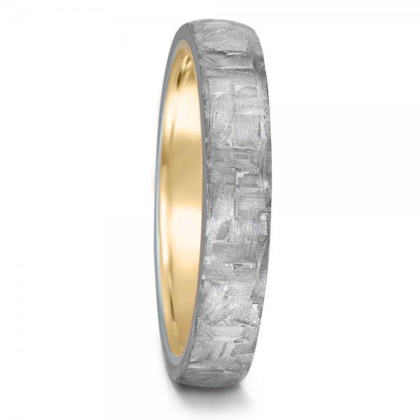 Geltono aukso ir karbono žiedas (4 mm pločio)