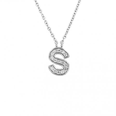 Balto aukso pakabukas su raide S