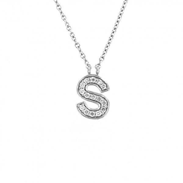 "White gold diamond necklace ""Letter S"""