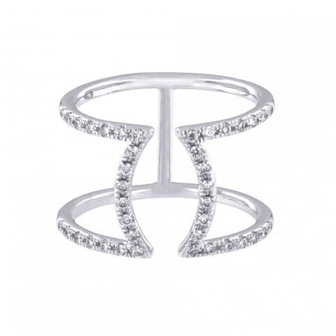 Modern white gold diamond ring