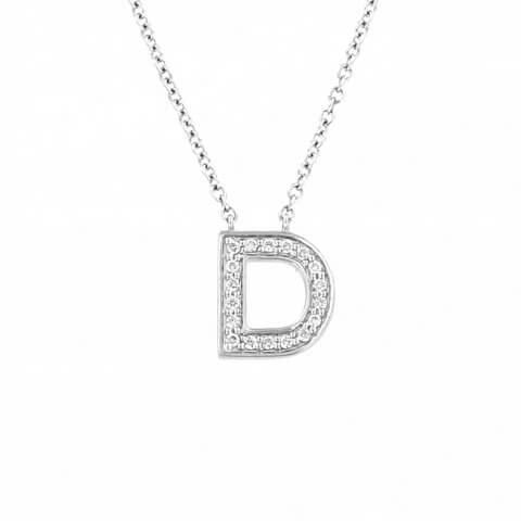 "White gold diamond necklace ""Letter D"""