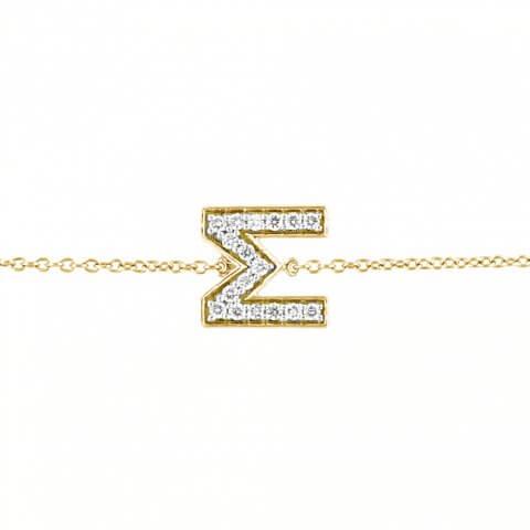 Geltono aukso apyrankė su raide M