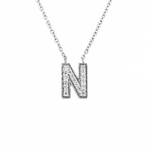 Balto aukso pakabukas su raide N