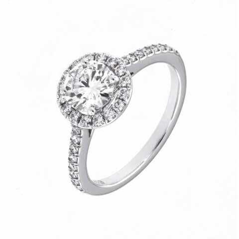 Prabangus balto aukso žiedas su deimantais