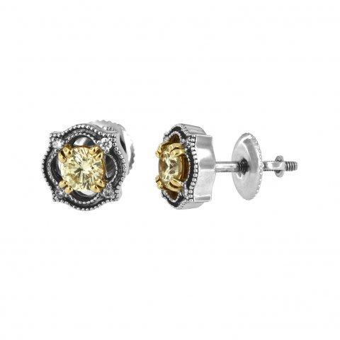 Balto ir geltono aukso auskarai su baltais ir geltonais deimantais