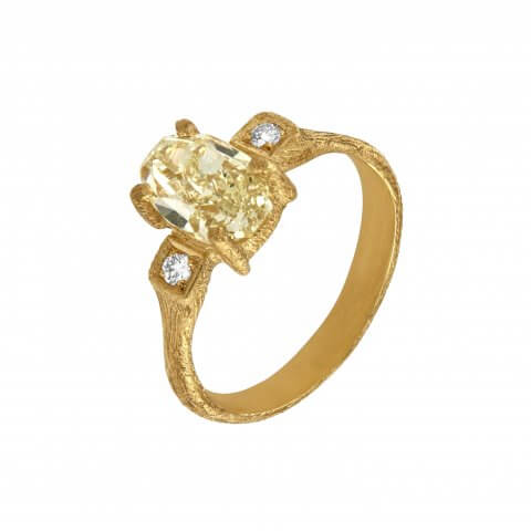 Handmade yellow gold ring with yellow diamond and diamonds