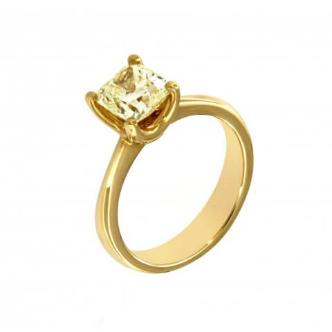 Yellow gold ring with yellow diamond