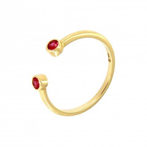 Geltono aukso žiedas su rubinais