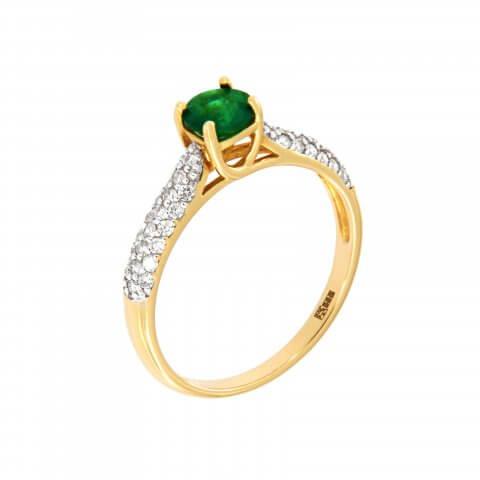 Geltono aukso žiedas su smaragdu ir deimantais