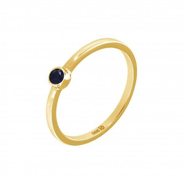 Geltono aukso žiedas su safyru