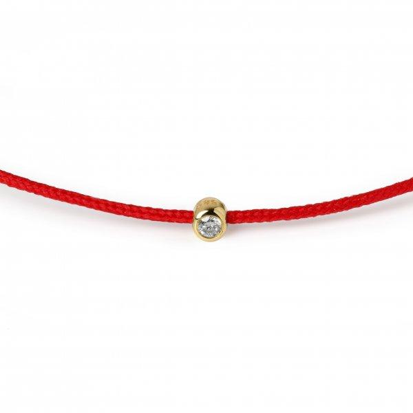 Raudona juostelė-apyrankė su deimantu (geltonas auksas)