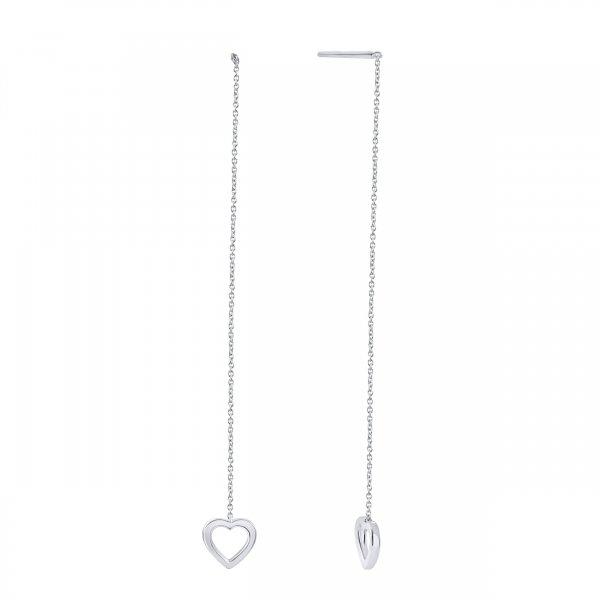 Balto aukso auskarai su širdelėmis