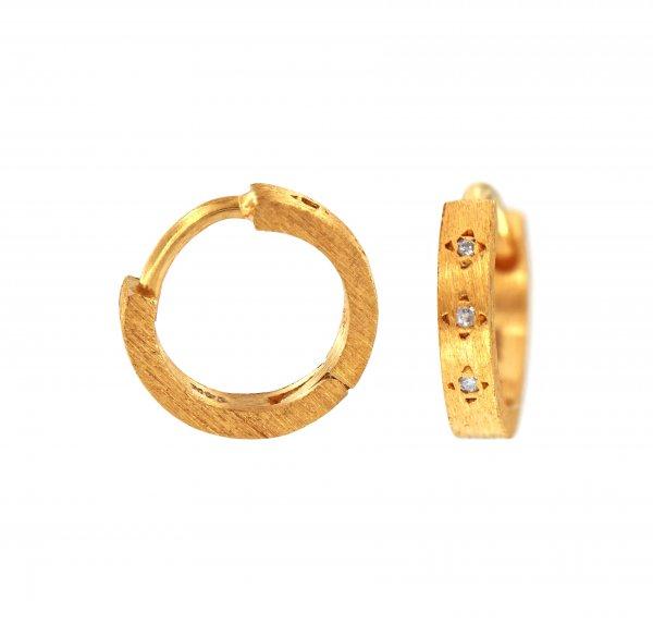 Rankų darbo geltono aukso auskarai su deimantais