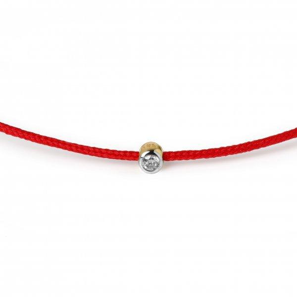 Raudona juostelė-apyrankė su deimantu (baltas ir geltonas auksas)