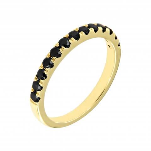 Geltono aukso žiedas su juodais deimantais