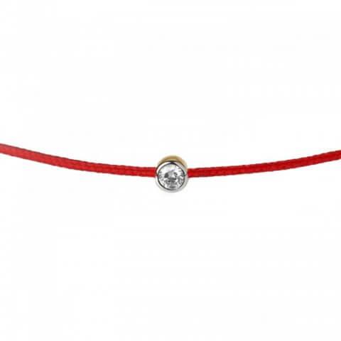 White and yellow gold diamond bracelet (red colour)