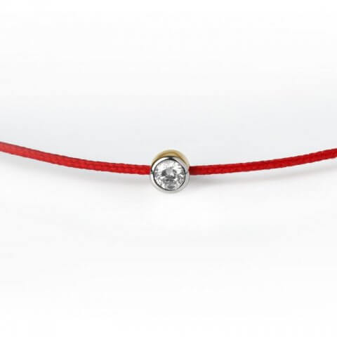 White and yellow gold diamond bracelet (red colour)