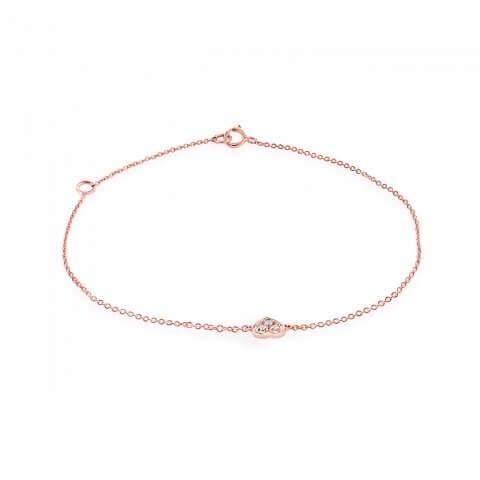 Rožinio aukso apyrankė su širdele iš deimantų