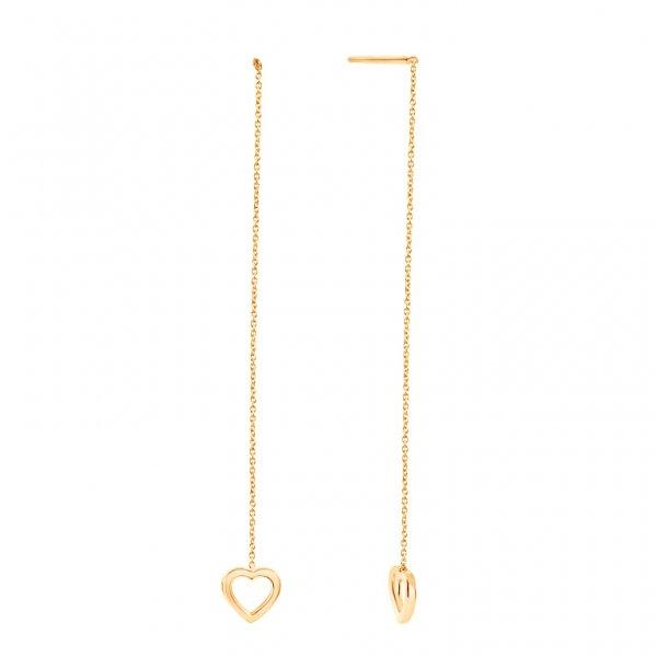 Geltono aukso auskarai su širdelėmis