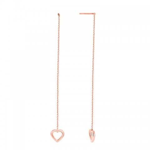 Rožinio aukso auskarai su širdelėmis