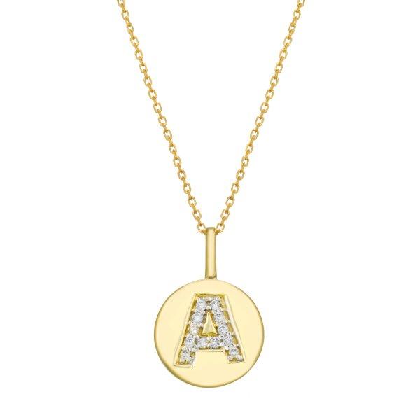 Geltono aukso pakabukas su deimantais raidė A