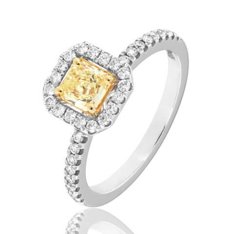 White and yellow gold yellow diamond ring